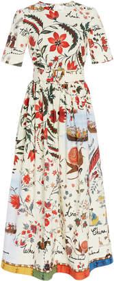 Oscar de la Renta Silk Road Print Silk Shirt Dress