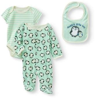Nannette Newborn Baby Boy Knit Footed Coverall, Knit Creeper And Knit Bib Set
