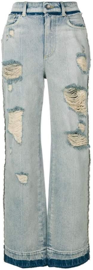 Gerippte Jeans mit weitem Bein
