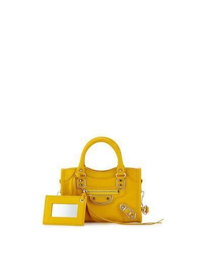 Balenciaga Balenciaga Metallic Edge Nano City AJ Crossbody Bag, Yellow