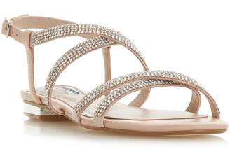 db2b86fccb8f Next Womens Dune Ladies Pink Wide Fit Diamanté Flat Sandal Shoe