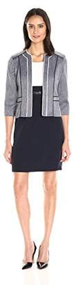 Sandra Darren Women's 2 Pc Denim Crepe 3/4 Sleeve Jacket Dress Set
