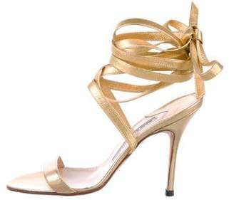 Manolo Blahnik Metallic Wrap-Around Sandals