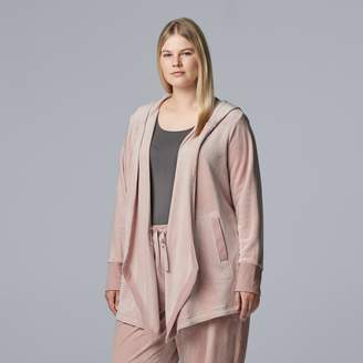 Vera Wang Plus Size Simply Vera Hooded Plush Cardigan
