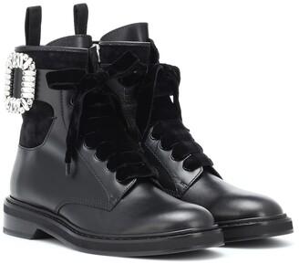 Roger Vivier Viv' Rangers Strass leather boots