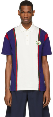 Gucci White and Blue GG Patch Polo