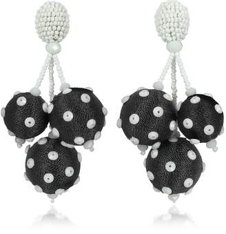 Oscar de la Renta Polka Dot Sequin Triple Ball Clip-On Earrings