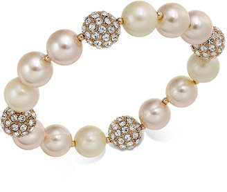 Charter Club Rose Gold-Tone Pave & Imitation Pearl Stretch Bracelet, Created for Macy's