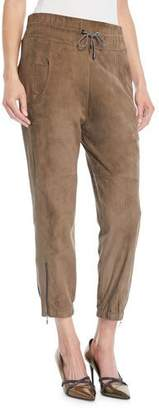 Brunello Cucinelli Drawstring Cropped Suede Joggers w/ Ankle Zips