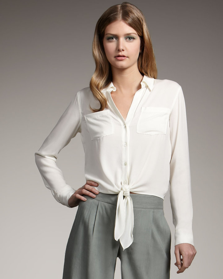 Theory Silk Button/Tie Blouse