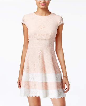 Teeze Me Juniors' Lace Fit & Flare Dress