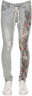 Profound Aesthetic Hand-distressed Floral Print Denim Jeans