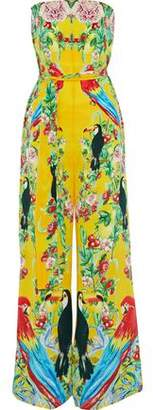 Camilla Animal Instinct Strapless Embellished Printed Silk Jumpsuit