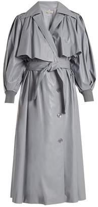 Vika Gazinskaya Double-breasted faux-leather trench coat