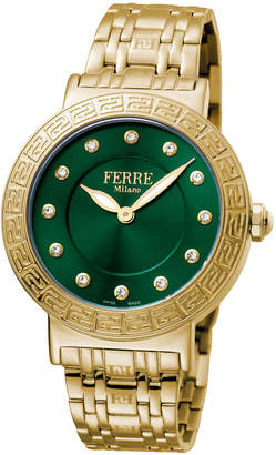 Ferré Milano Women's 38mm Stainless Steel Watch with Bracelet, Golden/Green