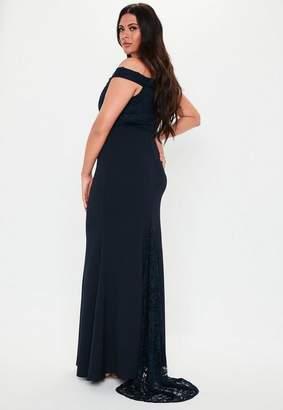 Missguided Plus Size Bridesmaid Navy Lace Bardot Dress