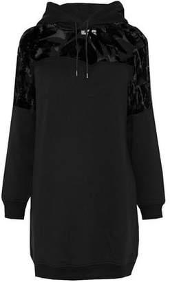 McQ Devoré Velvet-Paneled Cotton-Terry Hooded Mini Dress