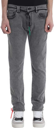 Off-White Off White Skinny Short Grey Denim Jeans