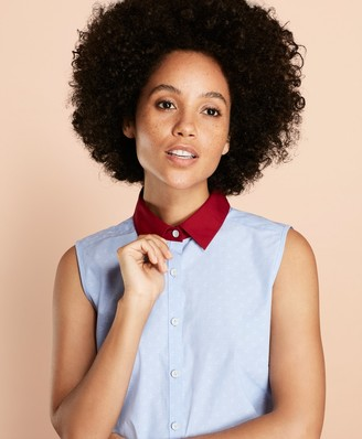 Brooks Brothers Anchor-Pattern Cotton Dobby Blouse