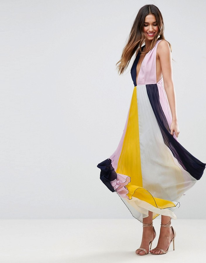 Asos ASOS Pleated ColorBlock Maxi Dress