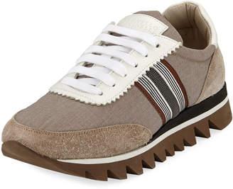 Brunello Cucinelli Shiny Grosgrain Techno Bonded Melange Running Sneakers