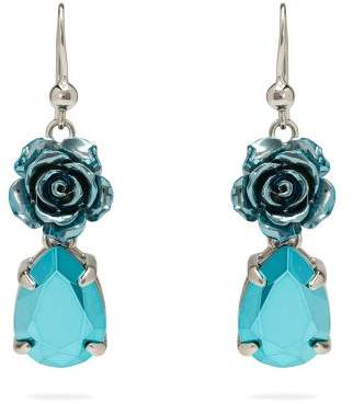 Prada Rose Drop Earrings - Womens - Blue