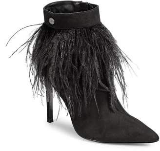 Nina Danella Feathered Ankle Point Toe Booties