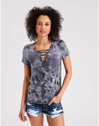 American Eagle AE Soft & Sexy Lace-Up Front T-Shirt