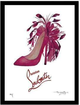 Christian Louboutin Luxe West Feathers Fairchild Paris Hand Drawn Print Framed Wall Art