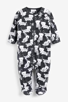 Next Girls Monochrome Bunny Character Fleece Sleepsuit (0mths-3yrs) - Black