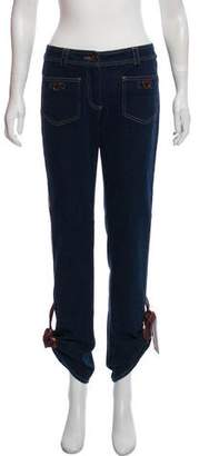 Christian Dior Leather-Trimmed Mid-Rise Jeans