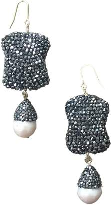 Farra - Natural Edison Pearls & Rhinestones Earrings