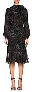 Co Women's Micro-Floral Ruffled Silk Chiffon Dress - Black