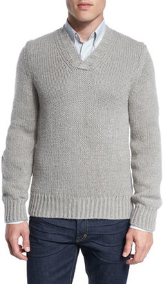 TOM FORD Cashmere-Wool V-Neck Sweater, Beige $1,290 thestylecure.com