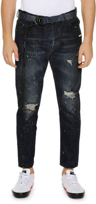 Off-White Off White Men's Slim Low-Crotch Distressed Jeans