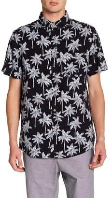 Sovereign Code Warm Springs Short Sleeve Palm Tree Print Trim Fit Shirt