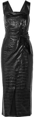 Nanushka - Zora Knotted Croc-effect Vegan Leather Midi Dress - Black