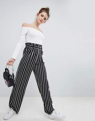 Bershka wide leg PANTS with tie waist in multi stripe