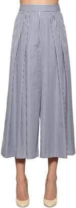 Antonio Marras Striped Wide Leg Cotton Poplin Pants