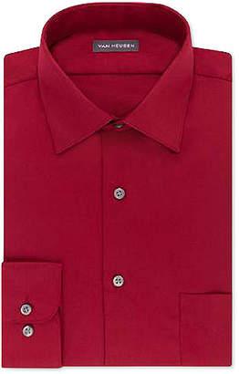 Van Heusen Men Classic/Regular Fit Lux Sateen Solid Dress Shirt