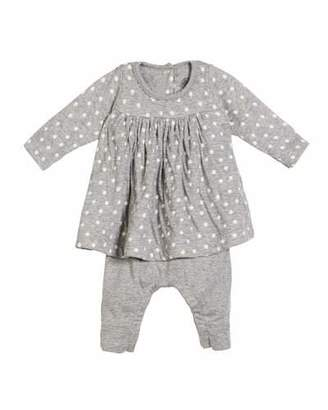 Petit Bateau Polka-Dot Dress w/ Attached Leggings, Size 1-12 Months