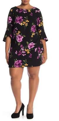 Vince Camuto 3\u002F4 Sleeve Floral Print Shift Dress (Plus Size)
