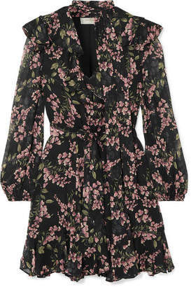 Zimmermann Fleeting Flounce Ruffled Floral-print Chiffon Mini Dress - Black