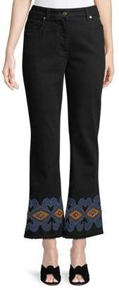 Etro High-Rise Flared-Leg Jeans w/ Embroidered-Hem