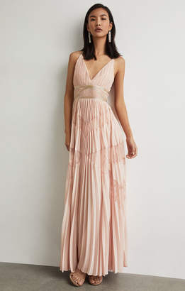 2f9411fcb6d BCBGMAXAZRIA Pleated Lace Inset Gown