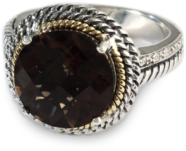 EFFY COLLECTION Smoky Quartz and Diamond Ring in Sterling Silver and 18 Kt. Gold, .03 ct. t.w.