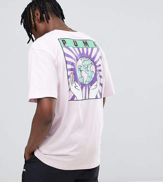 Puma Organic Cotton T-Shirt With Back Print In Pink Exclusive To ASOS
