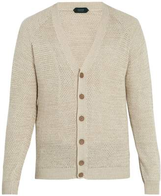 Zanone V-neck multi-weave cardigan