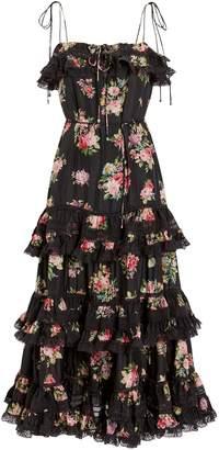 Zimmermann Honour Silk Tiered Tie Dress