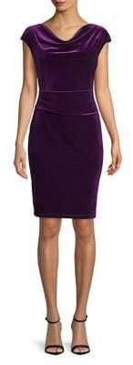 Molly Bracken Cap-Sleeve Velvet Sheath Dress